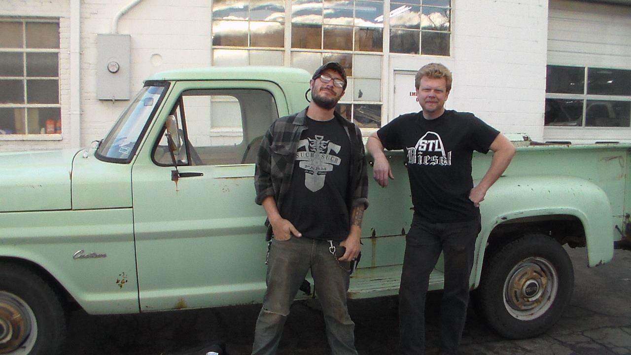 Darrell miller and Dave blum admiring the truck.
